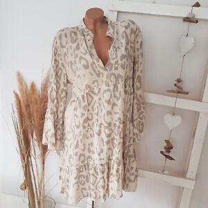 Tunika Kleid Creme-Beige Blogger Volant-Ärmel  Gr. 38 40 42 Onesize H1