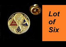 LOT of 6 Top Quality Masonic York Rite Square & Compass Freemason Lapel Pin hat