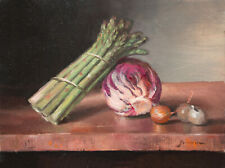 Kitchen Scene Oil Painting Radicchio Aspargus Shallots Keith Gunderson