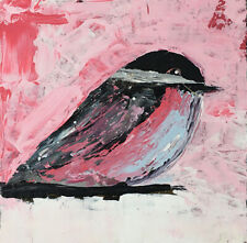 Pink Chickadee Bird Animal Painting Katie Jeanne Wood