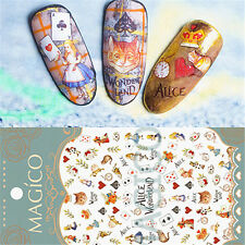 3D Nail Sticker Alice In Wonderland Theme Cat Cards Manicure Decals Decor Tips