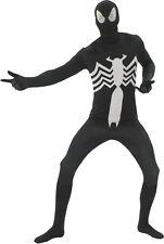 Black Spider Man Adult Costume Skin Suit Unitard 2nd Skin Superhero Size Medium
