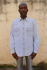 Levis 60555 Mens Casual Denim Shirt Blue Cotton Long Sleeved Red Tab L Second