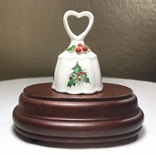 "Vintage Bone China Brinton Christmas Holly Ivy Berry Heart Bell Signed 3"" Mint"