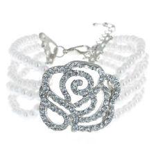 Perla Diamante Boda Nupcial Flor Rosa Pulsera brazalete de diamantes de imitación de cristal 1092