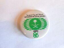 Vintage 1986 Canada Expo 86 Kingdom of Saudi Arabia Souvenir Pinback Button