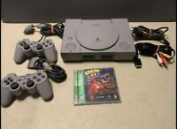 Sony PlayStation 1 PS1 Console 2 CONTROLLERS VERY CLEAN!! Crash Bandicoot