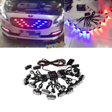12V 16 Kit Red Blue LED Beacon Strobe Flashing Light SUV Car Grille Warning Lamp