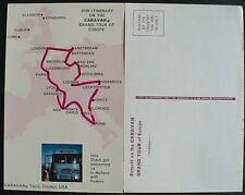 1950s Postcard Map Route of Caravan Bus Tours of Chicago IL Through Europe, BUS