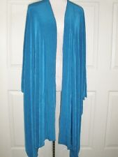 NWT Citiknit Size M Travelers Knit Blue Asymmetrical Long Open Front Jacket