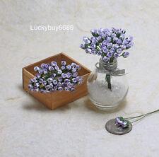 50 Purple Rim Tiny Rose Scrapbook Craft 5mm Mulberry Paper Flower Wedding Card