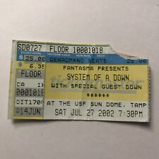 System Of A Down USF Sun Dome Tampa Florida Concert Ticket Stub Vintage Jul 2002