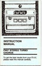 DOD FX 67 Effects Pedal Instruction Manual, Very Good Condition