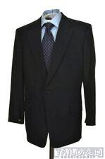 LEONARD LOGSDAIL Solid Blue 100% Wool Jacket Pants SUIT Mens - BESPOKE 44 R