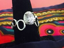 Jewelry in Candle Ring Silver Tone with Violet Center Stone Size 7.5