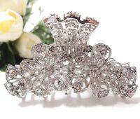 Woman Rhinestones Crystal flowers design metal hair claws clip bridal hair clip