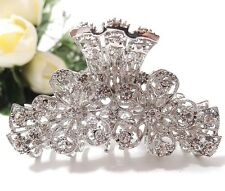 New Fashion Rhinestone two flower design with high quality metal hair claws clip