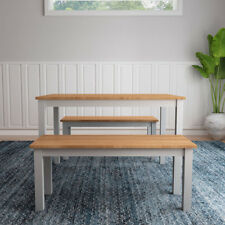 Dining Table With 2 Benches In Grey Solid Pine Wood Dining Set Kitchen Furniture