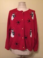 Petite Large Ugly Christmas Sweater Red Cardigan Snowman Goldtone Buttons