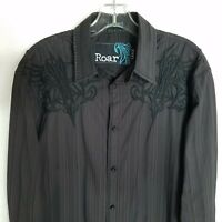 Roar Mens Black Embroidered Button Front Long Sleeve Classic Shirt Sz Large I112