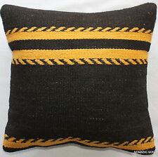 (40*40cm, 16inch) Boho vintage hand woven kilim cushion cover Black yellow 1