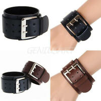 Punk Men Women Wide PU Leather Belt Bracelet Buckle Cuff Wristband Bangle Gift