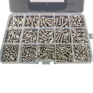 500pcs 304 Stainless Steel Hex Socket Cap Head Bolts Screws Nut Kit Set ge