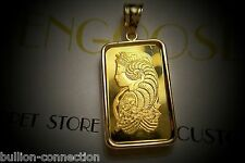 NEW 24 KT GOLD 1 GRAM PAMP SUISSE FORTUNA PENDANT IN 14 KT SOLID GOLD BEZEL/BALE