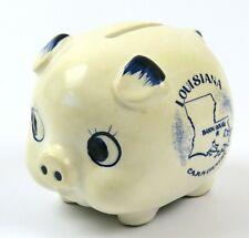 Blue & White Stoneware Piggy Bank, Baton Rouge Louisiana, Cajun Country, Japan