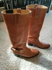 """18"""" Tall Tan/Brown Leather Sendra Men's Cowboy Boots US Size 9 Made in Spain"""