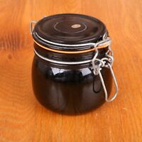 Vintage Dark Red Glass Canister Jar With Wire Bail Clasp