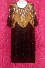 VINTAGE 80S JAKELIN DESIGNS BLACK BEADED SEQUIN COCKTAIL PARTY DRESS PLUS SZ 3X