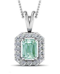 3.05Ct Vvs1.ICE BLUE WHITE EMERALD MOISSANITE DIAMOND 925 HALO SILVER PENDANT