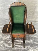 Vintage Rocking Chair Pin Cushion Thread Holder Scissor Wood Sewing Accessory