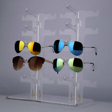 2 Row 10 Pairs Sunglasses Glasses Rack Holder Frame Display Stand Transparen 7P