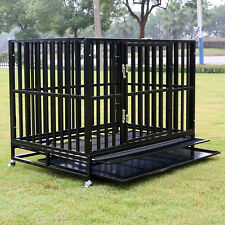 """Large 42"""" Heavy Duty Dog Cage Crates Kennel Pet Playpen Exercise House w/ Tray"""