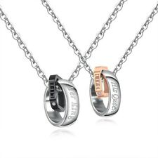 His & Hers Stainless Steel Couple Necklace Set Cubic Zirconia Romantic Lover
