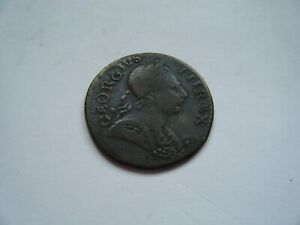 George III non-regal and US colonial halfpenny 1773, 'Aging George' family