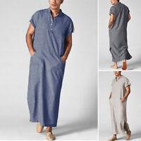 Men's Middle East Thobe Short Sleeve Arab Islamic Casual Loose Kaftan Long Robes