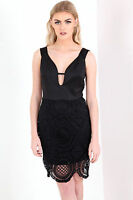 New Ladies Strappy lace mini dress Black Size 8-12 UK