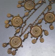 MASSIVE Vintage Etruscan Revival Gold Gilt Filigree Panel Bib Necklace