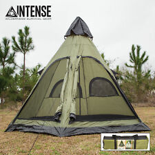 Intense Teepee Camping Tent Family Outdoor Sleeping Dome Shelter w/ Carry Bag