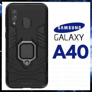 COVER PER SAMSUNG GALAXY A40 CUSTODIA ANTIURTO RIGIDA MAGNETICA ARMOR RING NERA