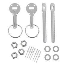 Aluminium Haubenhalter Schnellverschluss Racing Kapuze Bonnet Pin Set Silber