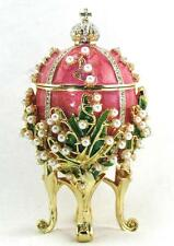 """Russian Made AKM Faberge Easter Egg """"Lilies of the Valley"""" Enamel Trinket Box"""