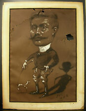 Marcel Pic 1886 Caricature d'Ernest Belay & son chien accidents dessin drawing