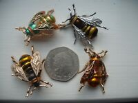 Vintage Style HONEY BEE Bumble Insect ENAMEL BROOCH Pins x 4 see pictures