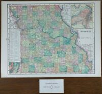 "Vintage 1903 MISSOURI Map 14""x11"" ~ Old Antique Original ST LOUIS MARSHALL MAPZ"