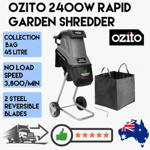 Ozito 2400w Electric Rapid Garden Shredder Outdoor Mulcher Wood Chipper Machine