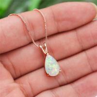 Teardrop Shaped White/Blue/Purple/Green Fire Opal Necklaces Rose Gold Pendants